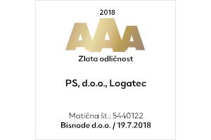 Zlata bonitetna odličnosti AAA 2018